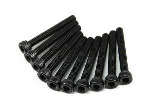 Screw Socket Head Hex M3x28mm Machine Thread Steel Black (10pcs)