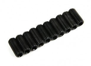 Screw Grub Hex M3x8mm Machine Thread Steel Black (10pcs)