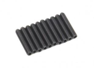Screw Grub Hex M3x16mm Machine Thread Steel Black (10pcs)
