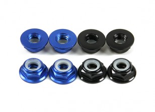 Aluminum Flange Low Profile Nyloc Nut M5 (4 Black CW & 4 Blue CCW)