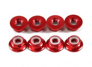 Aluminum Flange Low Profile Nyloc Nut M5 Red (CCW) 8pcs
