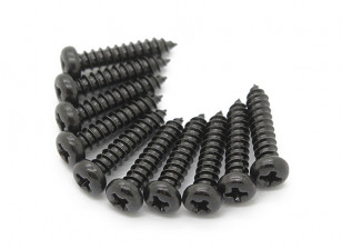 Screw Round Head Phillips M2.6x12mm Self Tapping Steel Black (10pcs)