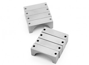 Silver Anodized CNC Semicircle Alloy Tube Clamp (incl.screws) 25mm