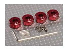 Red Aluminum Wheel Adaptors with Lock Screws - 6mm (12mm Hex)