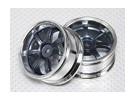 1:10 Scale Wheel Set (2pcs) Grey/Chrome 5-Spoke RC Car 26mm (3mm offset)