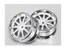 1:10 Scale Wheel Set (2pcs) Chrome/White 10-Spoke RC Car 26mm (3mm Offset)