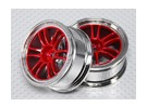 1:10 Scale Wheel Set (2pcs) Red/Chrome Split 6-Spoke RC Car 26mm (no offset)