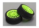 Wheel/Tire Set (green wheel) (2pcs/bag) - 1/16 Brushless 4WD Mini Rally Car