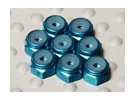 Blue Anodised Aluminum M2 Nylock Nuts (8pcs)