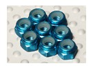 Blue Anodised Aluminum M3 Nylock Nuts(8pcs)