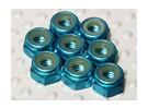 Blue Anodised Aluminum M4 Nylock Nuts(8pcs)