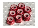 Red Anodised Aluminum M4 Nylock Nuts(8pcs)