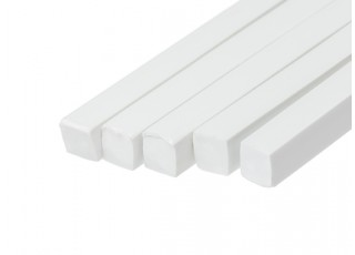 ABS Square Rod 10.0mm x 10.0mm x 500mm White (Qty 5)