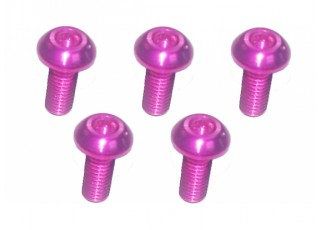 Screw Button Head Hex M3x8mm Machine Thread 7075 Aluminum Pink (5pcs)