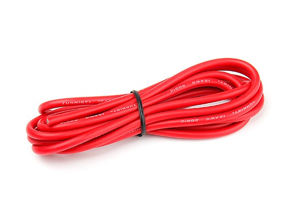 Turnigy High Quality 12AWG Silicone Wire 2m (Red)