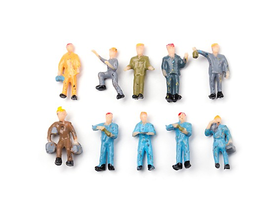 .1/87th (HO scale) Assorted Standing Workmen Figures (10pcs)