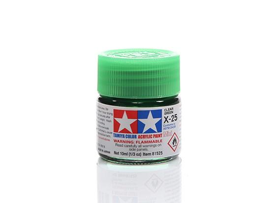 Tamiya X-25 Clear Green Mini Acrylic Paint (10ml)