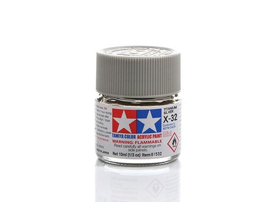 Tamiya X-32 Gloss Titanium Silver Mini Acrylic Paint (10ml)