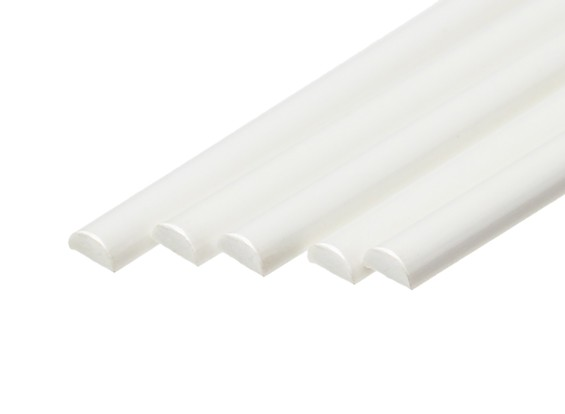 ABS Half Round Rod 5.0mm x 500mm White (Qty 5)