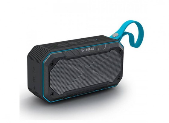 W-King S18 Waterproof Portable Intelligent Bluetooth Speaker With Calls/ FM Radio / AUX - BLUE