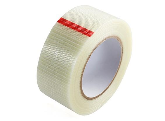 高強度チェッカーファイバーテープ。 50ミリメートルのX 50メートル