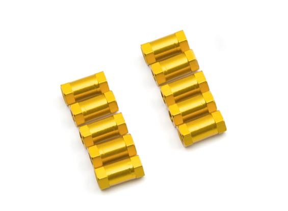 軽量アルミラウンドセクションスペーサーM3x10mm(ゴールド)(10個入り)