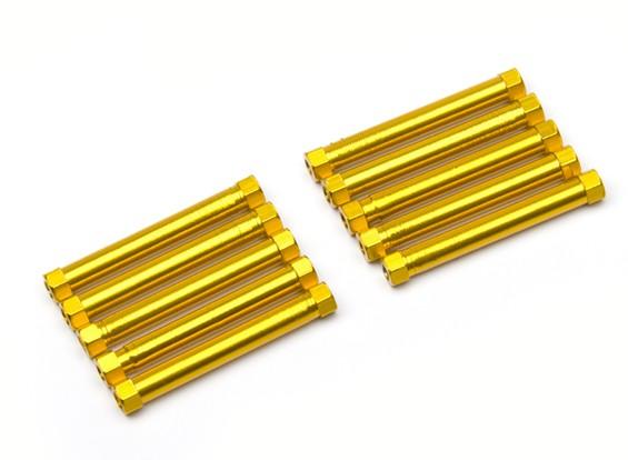 軽量アルミラウンドセクションスペーサーM3x38mm(ゴールド)(10個入り)