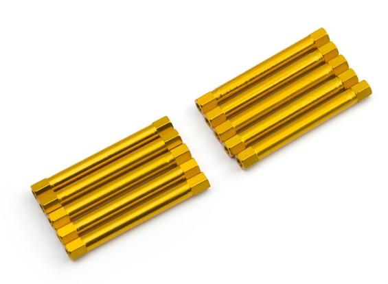 軽量アルミラウンドセクションスペーサーM3x45mm(ゴールド)(10個入り)