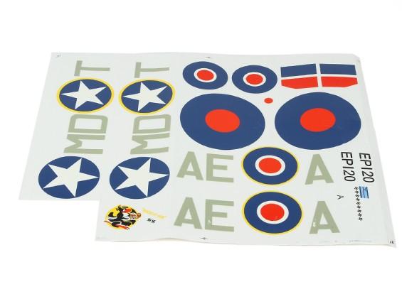 Durafly™スピットファイアMK5 ETO(グリーン/グレー)デカールセットRAF / USAAF