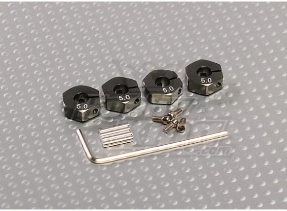 ロックネジ付きチタンカラーアルミホイールアダプター -  5ミリメートル(12ミリメートル16進数)