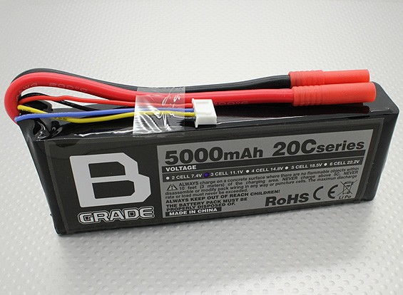 Bグレード5000mAに3S 20C Lipolyバッテリー
