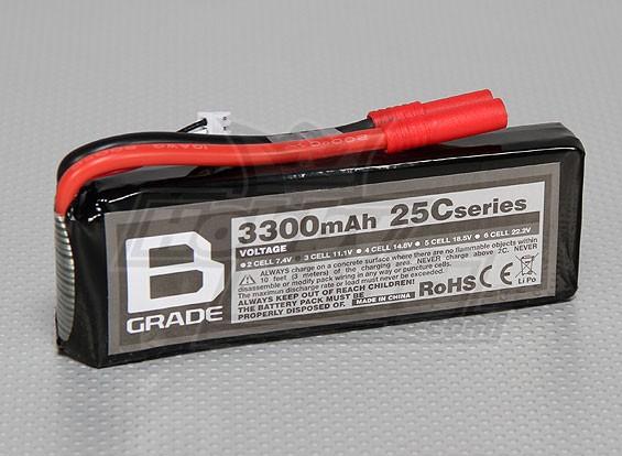 Bグレード3300mAh 3S 25C Lipolyバッテリー