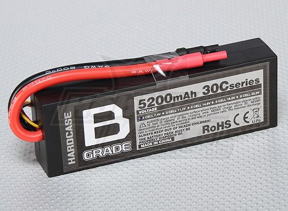 Bグレード5200mAh 2S 30CハードケースLipolyバッテリー