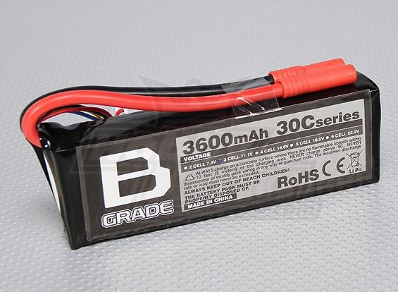 Bグレード3600mAh 3S 30C Lipolyバッテリー