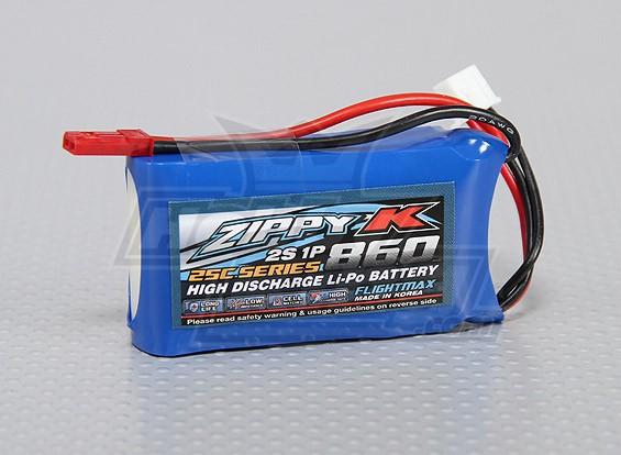 ジッピー-K Flightmax 860mAh 2S1P 25C Lipolyバッテリー