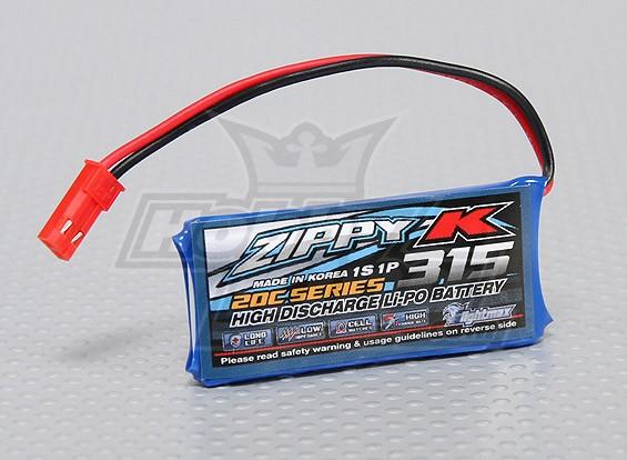 ジッピー-K Flightmax 315mah 1S1P 20C Lipolyバッテリー