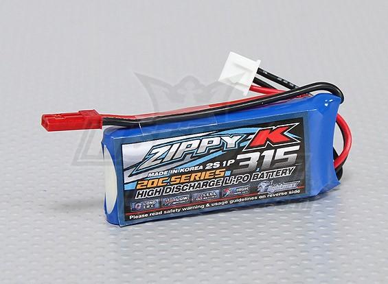 ジッピー-K Flightmax 315mah 2S1P 20C Lipolyバッテリー