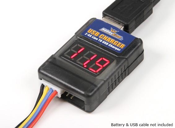 USB充電アダプタと電池チェッカー(2S〜6S)へHobbyKing™LIPO