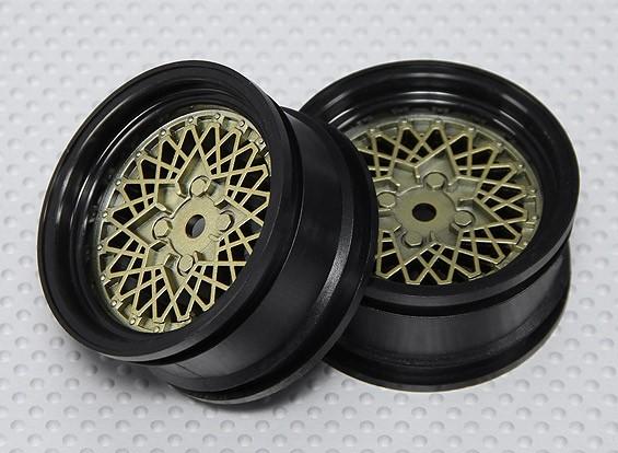 1:10スケールホイールセット(2個)ゴールド/ブラックホットワイヤRCカー26ミリメートル(オフセットなし)