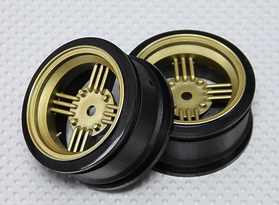 1:10スケールホイールセット(2個)ゴールド/ブラックレトロ4スポークRCカー26ミリメートル(オフセットなし)