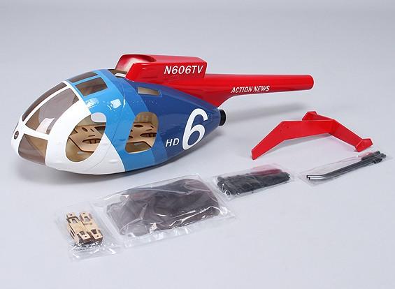 ヘリ450サイズ用のヒューズMD500グラスファイバー胴体