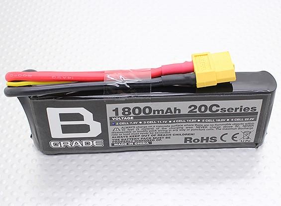 Bグレード1800mAhの2S 20C Lipolyバッテリー