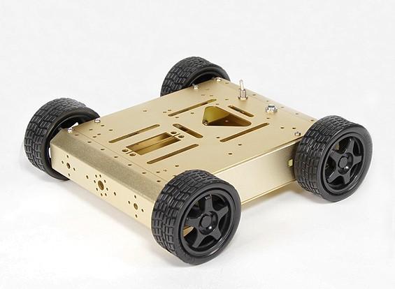 アルミ4WDロボットシャーシ - ゴールド(KIT)