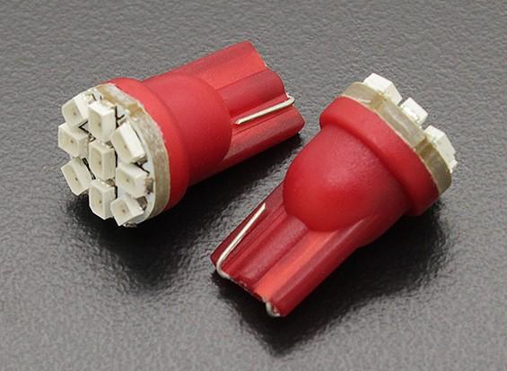 LEDコーンライト12V 1.35W(9 LED) - レッド(2個)