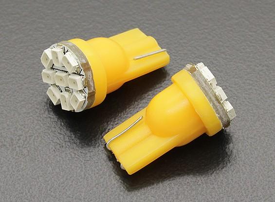 LEDコーンライト12V 1.35W(9 LED) - イエロー(2個)