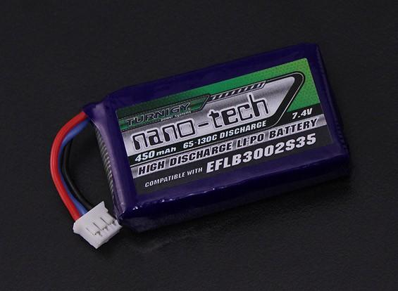 Turnigyナノテクノロジー450mAh 2S 65Cリポ(E-FLITEの互換性 - ブレード130X EFLB3002S35)