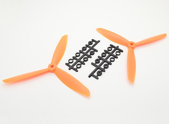 Hobbyking™3-ブレードプロペラ7x4.5オレンジ(CW / CCW)(2個)