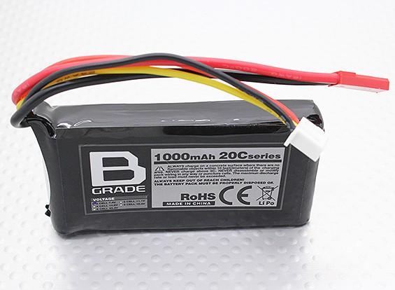 B級1000mAhの2S 20C Lipolyバッテリー