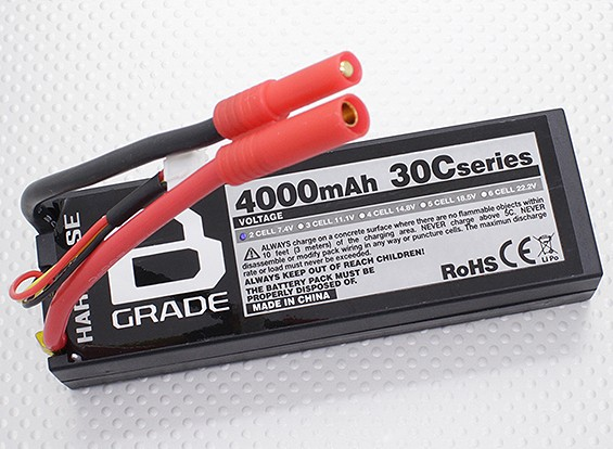 B級4000mAh 2S 30Cハードケースパック