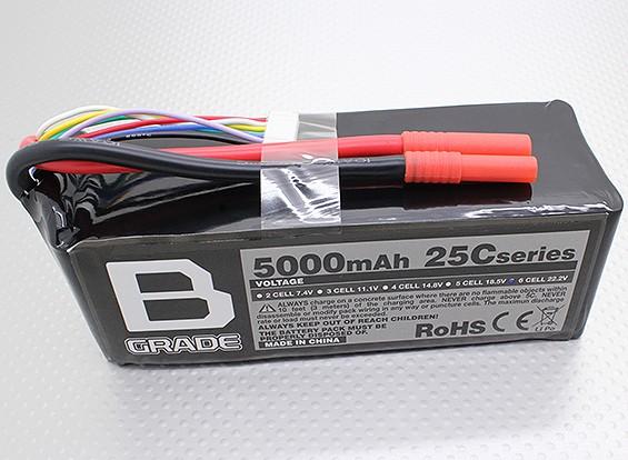 Bグレード5000mAに6S 25C Lipolyバッテリー